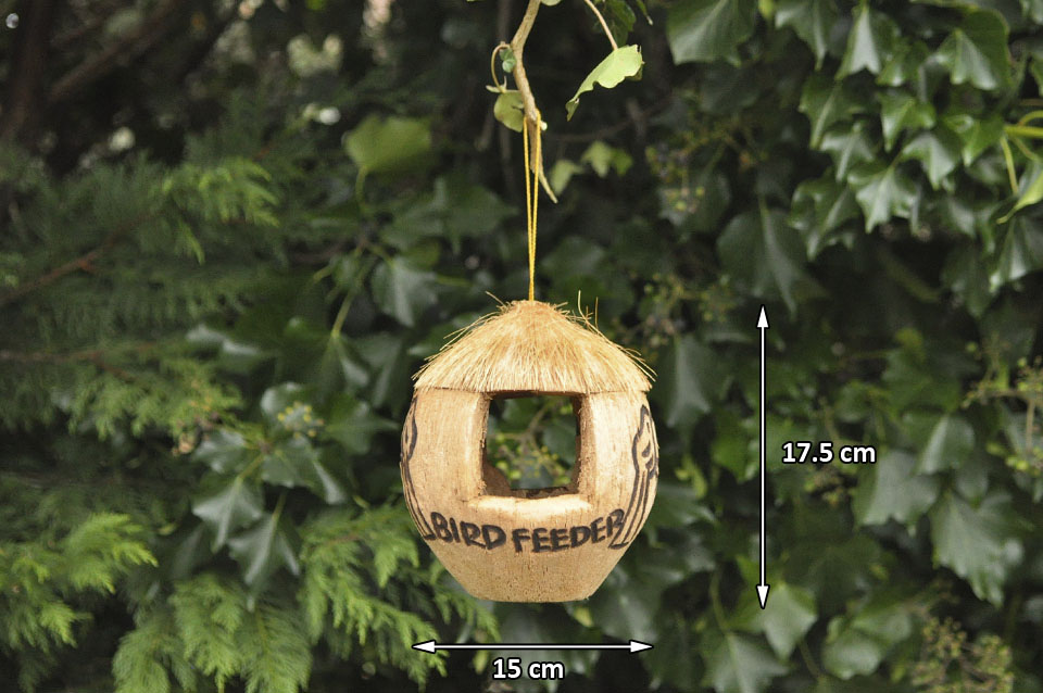 Bird feeder coconut bird feeder wild bird food shabby chic for Whole coconut bird feeders