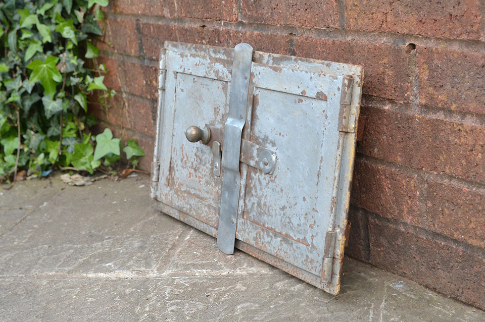 48 2 x 27 cm old steel fire bread oven door doors clay for Door 2 door pizza